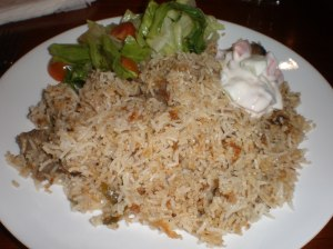 Lamb Briyani, Green Salad and Raita