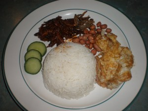My Breakfast:Nasi Lemak with Fried Egg and Peanuts