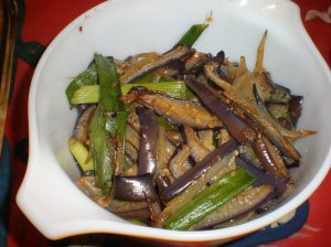 Eggplant and Spring Onions