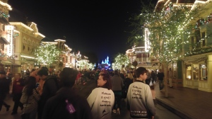 Main Street, Disneyland at night.