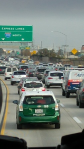 Los Angeles traffic on a Tuesday morning