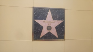 Muhammad Ali's star is on a wall because it would be sacrilegious to walk over the name of Muhammad.