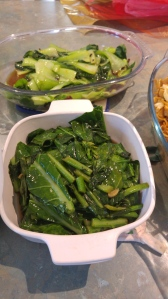 Top: Buk Choy with garlic and soy sauce Bottom: Chinese Broccoli with garlic and oyster sauce